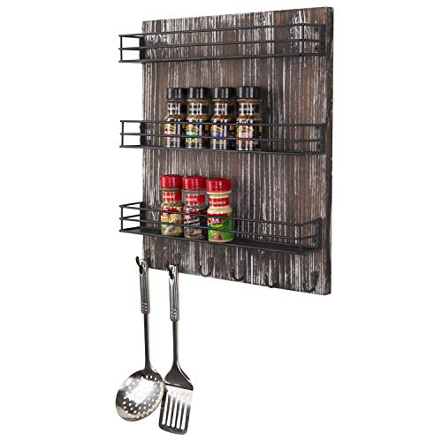 MyGift 3-Tier Torched Wood and Black Metal Wire Shelves Wall-Mounted Spice Rack with 6 Hooks