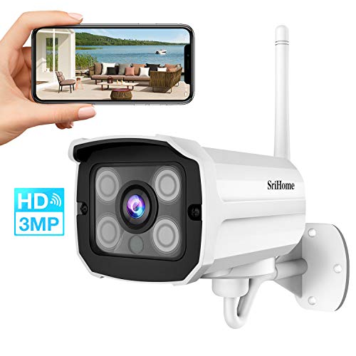 Überwachungskamera, WLAN IP Kamera, 3MP HD Wireless Kamera für draußen, IP66 Wasserdich WiFi Cam Outdoor Sicherheitskamera mit Auto-Nachtsicht, Bewegungserkennung, NVR & MicroSD-Card Spericher