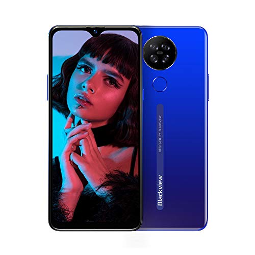 Téléphone Portable 4G, Blackview® A80 Smartphone Débloqué (Android 10 GO, Quad Caméra Arrière 13MP, Écran Waterdrop 6.21 Pouces, 2Go+16Go-SD 128Go, Batterie 4200mAh) Smartphone Pas Cher, Face ID-Bleu