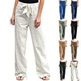 JJPAR Pantalon Longueur Lin pour Femme Été Pas Cher Chic Slim Fit Casual Mode Pantalon Streetwear Couleur Unie Pantalon D'entraînement Confortable Ample avec...