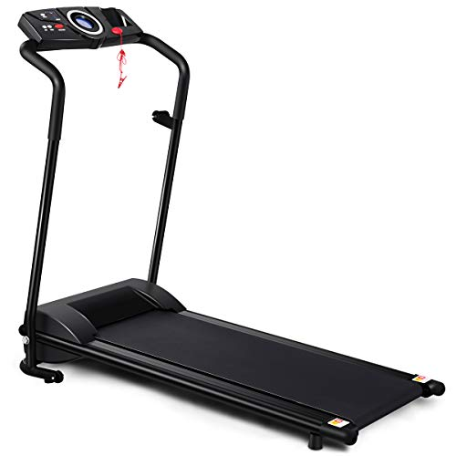 GYMAX Folding Treadmill, Portable Low Noise Jogging Electric Walking Running Machine Exercise Treadmill w/Safety Key