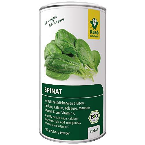 Raab Vitalfood Bio Spinat-Pulver, 100 % Spinat aus biologischem Anbau in Deutschland, vegan, glutenfrei, enthält natürlicherweise Eisen, Calcium, Kalium und Folsäure, 1er Pack (210 g)