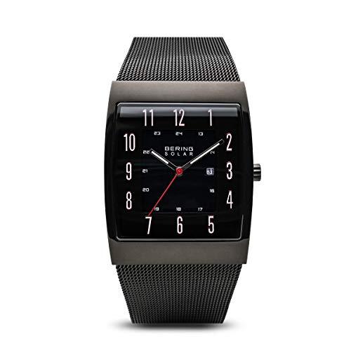 BERING Herren Analog Solar Uhr mit Edelstahl Armband 16433-122