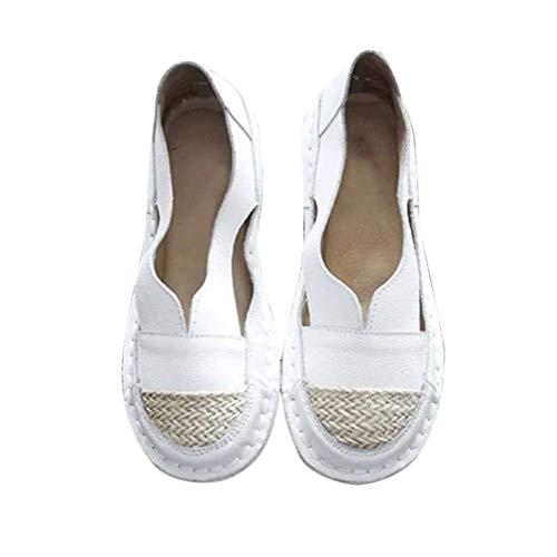 Minetom Mujer Alpargatas Sandalias Planas Verano Mujer Mocasines Mocasines para Caminar Zapatos con Suela De Paja B Blanco 42 EU