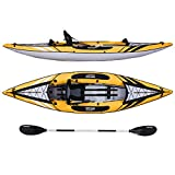 Driftsun Almanor 110 Inflatable Kayak - Yellow Single-Person Recreational Touring Kayak Package Includes EVA Padded Seat with High Back Support, Paddle, Pump and Travel Bag