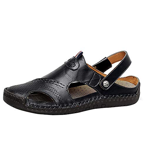 JAMONWU Men's Sports Sandals Loafer Driving Shoes Summer Leather Outdoor Fisherman Sandal Flats Boat Shoes Slip-on Beach Sandals(9 M US,Black-Belt Loop)