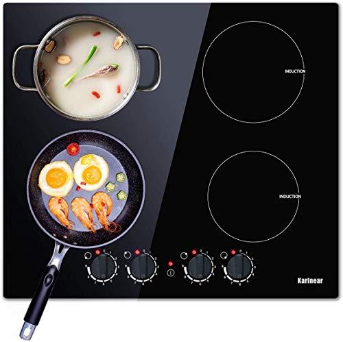 Karinear Piano cottura a induzione, doppia elettrico, 60 cm, cucina a 4 fuochi con piano cottura in cristallo nero non lucido