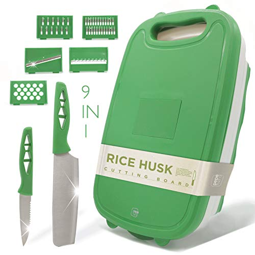 Cutting Board For Kitchen - 9-In-1 Multifunctional Cutting Boards - Durable Rice Husk - Collapsible Chopping Board - Space Saver - Fruit & Vegetable Slicer Kit - Strainer - Kinfes Set Dishwasher Safe