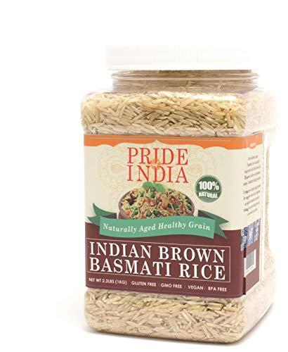 Pride Of India - Extra Long Brown Basmati Rice - Naturally Aged Healthy Grain, 3.3 Pound (1.5 Kilo) Jar (2.2 Pound + 50% Extra Free = 3.3 Pounds Total)