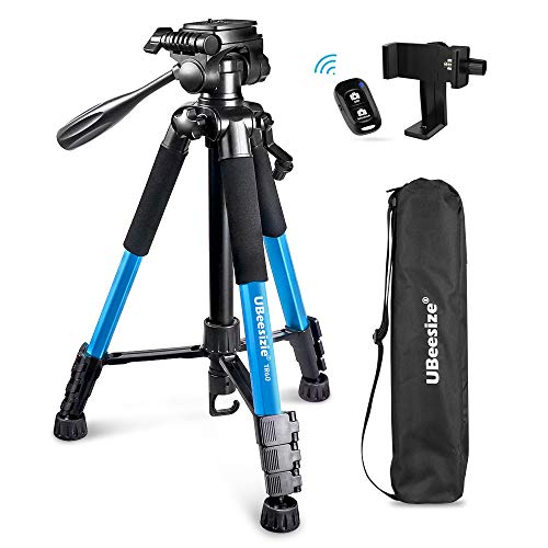 UBeesize 60-inch Camera Tripod, 5kg/11lb Load TR60 Load Portable Lightweight Aluminum Travel Tripod with Carry Bag & Bluetooth Remote, for DSLR Cameras Compatible with iPhone & Android Phone (Silver)