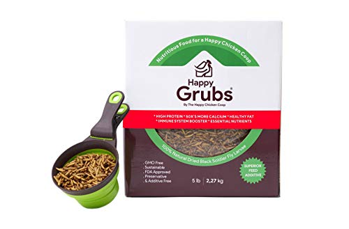 HAPPY GRUBS - ULTIMATE MIXTURE OF WHOLE, HALF, AND POWDER OF BSFL FEED - CHICKEN FEED MIXTURE - 50X-80X More Calcium Than Meal Worms - NON-GMO, Molting Treatment, Great For Wild Birds, Reptiles, Ducks