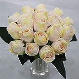 GTUQ Flores Decorativas Artificiales 18 Cabeza de Rosas Artificiales, Falso Seda...