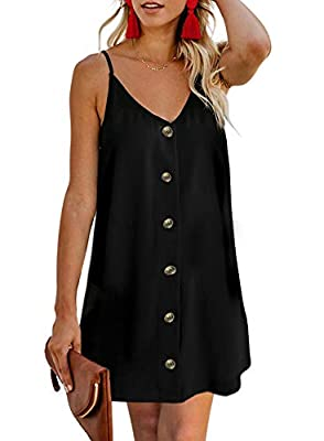Material: Polyester + Spandex.Lightweight and Comfortable Can Be Easily Dress Up or Dress Down. Features:Adjustable Spaghetti Strap,Sexy V Neck Sleeveless, Button Front, Casual Loose Fit Swing Tank Dress Occasion: Casual, Party, Night Out, Clubwear,D...