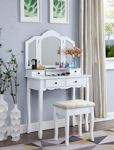 Roundhill Furniture Sanlo White Wooden...