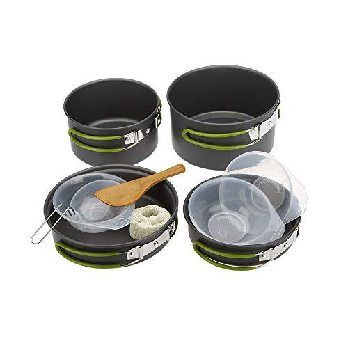 Lixada Pentole e padelle in Ossido di Alluminio/Set di Cucina Campeggio di 7 Pezzi,per 2-3 Persone