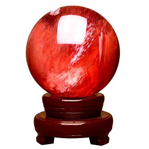 CCMM Bola De Cristal Rojo, Bola De Meditación De Cristal De Decoración con Soporte De Madera, Bola De Feng Shui, Diámetro 60 Mm ~ 400 Mm