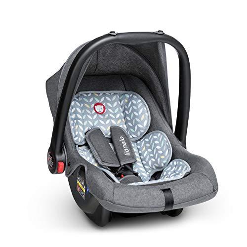 Lionelo Noa Plus Auto Kindersitz Babyschalle ab Geburt bis 13 kg Fußabdeckung Sonnendach leichte Konstruktion 3-Punkt-Sicherheitsgurt abnehmbarer Polsterbezug (Grau)