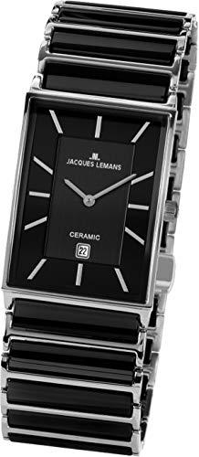JACQUES LEMANS Herren Analog Quarz Uhr mit Edelstahl Armband 1-1593.1A