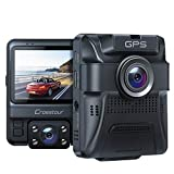 Uber Dual Lens Dash Cam Built-in GPS Car Camera Crosstour 1080P Front and 720P Inside with Parking Monitoring, Infrared Night Vision, Motion Detection, G-Sensor and WDR