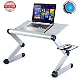 Armyte Adjustable Laptop Stand Multi-Angle with Cooling Fans & Mouse Station, Foldable Portable Laptop Riser for Desk/Bed PC/MacBook (Silver)