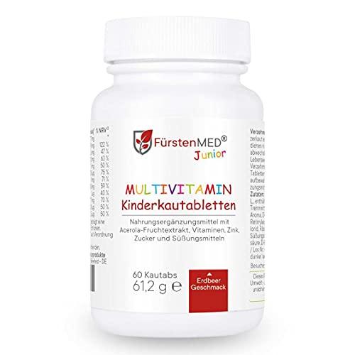 FürstenMED® Multivitamin Kautabletten Erdbeere - Kinder Vitamine - Ohne Zusatzstoffe - Natürlich - Vegan - Hergestellt In Deutschland
