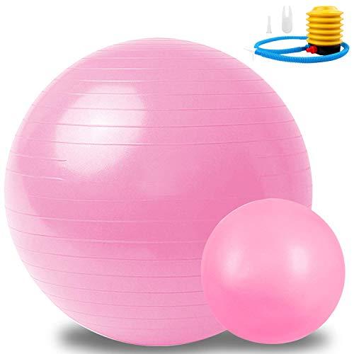 Sportout Gymnastikball 55cm/65cm+25cm, Anti-Burst Yoga Ball, Anti-Rutsch Fitness Ball,Gymnastikball für Pilates,perfekt für Exercise im Zuhause oder im Fitnessstudio, Belastbarkeit bis zu 500kg