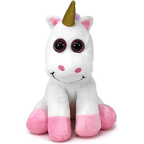 com-four® Unicornio Peluche con Ojos Brillantes, Peluche Sentado, 25 cm (01 Pieza - Unicornio)