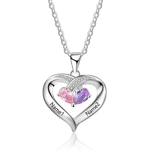 Personalisierte Sterling Silber Halsketten mit Herzanhänger 2 Simulierte Birthstone Halskette Echt...