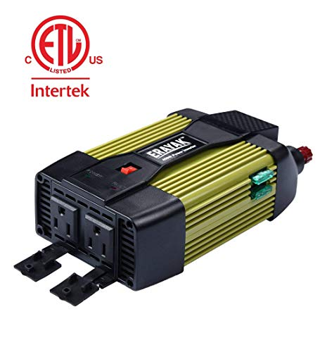 Car Power Inverter 400W DC 12V to 110V AC ETL Car Inverter with 2.1A USB Charging Ports and Car Charger Cigarette Lighter