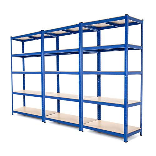 3Bay Heavy Duty Steel scaffali scaffalature garage 275kg per ripiano (5livelli 1800mm altezza x...