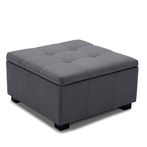 BELLEZE Upholstered Modern Style Indoor Living Room Bedroom Storage Tufted Ottoman Squared Foot Bench, Grey
