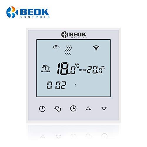 Beok TDS21-EP Thermostat d'ambiance Numérique Programmable Sans fil Wifi Avec écran Tactile Et Capteur De Plancher LCD, AC230 V 16A blanc, Blanc, 230.00V