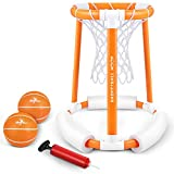 iBaseToy Pool Basketball Hoop, Floating Basketball Hoop for Pool, Inflatable Basketball Hoop Set...