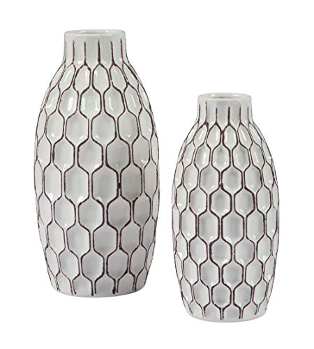 Ashley Furniture Signature Design - Dionna Vases Set of 2 - Contemporary - White/Brown