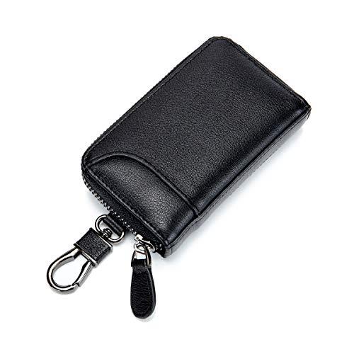 キーケース メンズ カードキーケース レザー スマートキーケース 車キーケース 本革 6連 2つ外側ポケット カード入れ カラビナ付き 大容量 (ブラック×ブラック)