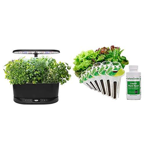 AeroGarden Bounty Basic Indoor Hydroponic Herb Garden, Black & Heirloom Salad Greens Seed Pod Kit, 6