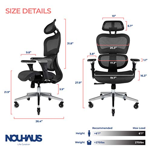 Product Image 6: NOUHAUS Ergo3D Ergonomic Office Chair - Rolling Desk Chair with 3D Adjustable Armrest, 3D Lumbar Support and Blade Wheels - Mesh <a href=