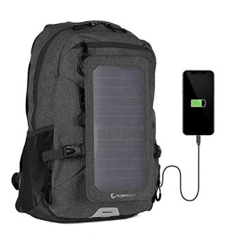 SUNNYBAG Explorer+ Solar Backpack Charger   World's Strongest Water Resistant Solar Panel for Smartphones and All USB-Devices on The go   15L Volume and 15'' Laptop Compartment   Black/Black