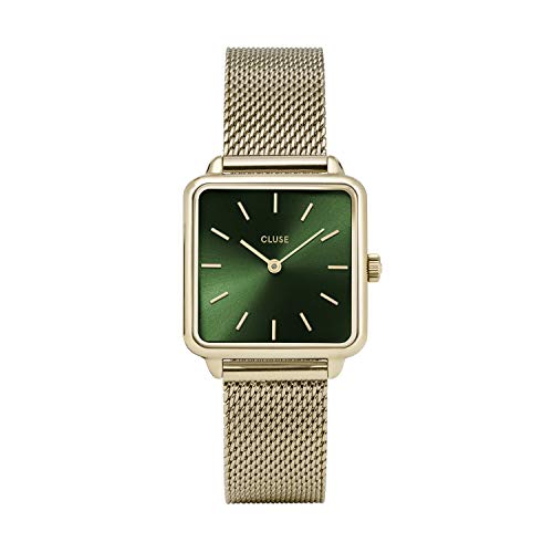 CLUSE LA TÉTRAGONE Mesh Gold Forest Green CL60014 Women's Watch 29mm Square Dial Stainless Steel Strap Minimalistic Design Casual Dress Japanese Quartz Precision