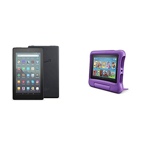 Fire 7 Family Pack - Fire 7 Tablet (16GB, Black) + Fire 7 Kids Edition Tablet (16GB, Purple)
