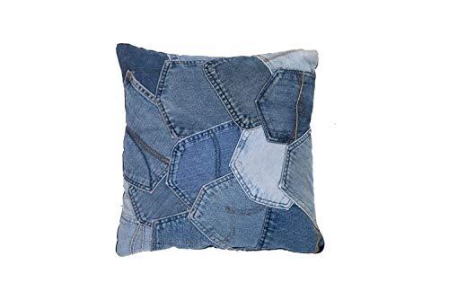 One Couture Jeans Cuscini Decorativi Stoffa a Jeans Cuscini Divano Cuscino Blu 45-45 CM