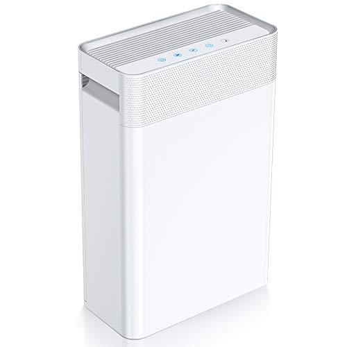 Purificador de Aire con Filtro HEPA e Ionizador, Carbón Activado, 45 m² Purificador de Aire Modo de Reposo Silencioso, con Filtración de 4 Capas, 3 Modos de Temporizador para Alergia/Apartamento/Fumar