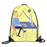 Etryrt Mochila de Cuerda,Bolsas de Gimnasia, Internet Phishing Drawstring Bag for Traveling Or Shopping Casual Daypacks School Bags