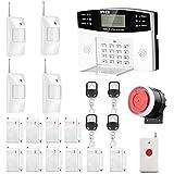 AGSHOME Security Alarm System 99+8 Zone Auto Dial GSM SMS Home Burglar Security Wireless GSM Alarm System Detector Sensor Kit Remote Control