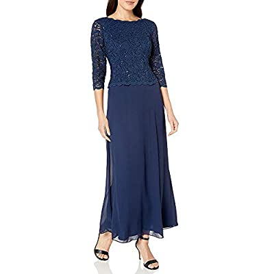 Floor-length dress featuring sequin lace bodice with illusion three-quarter sleeves and V-back Cutwork trim at cuffs, neckline, and bodice hem This style is available in Regular, Plus Size and Petite on Amazon.com 3/4 sleeve scoop-neck long blue dres...