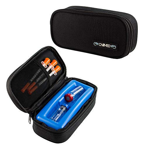 ChillMED Micro Cooler Bag - Diabetic Insulin Vial Carrying Case Travel Pack with Re-Freezable Ice Pack - Up to 12 Hours of Cool Time   for Insulin and Other Medication (Black)