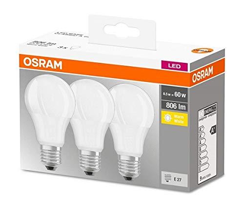 Osram ampoule LED E27 BASE Classic A / 8.5 W - Equivalence incandescence 60 W, ampoule LED forme classique / mat, blanc chaud - 2700K, lot de 3