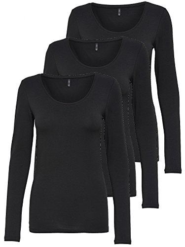 ONLY 3er Pack Damen Langarmshirt schwarz und weiß Langarm Basic Longsleeve Sommer aus 95{86bf2093801b301e68cc12fe6d8e92efdae8388a441851bae53dbee38a0d68b5} Baumwolle XS S M L XL (3er Pack schwarz, M)