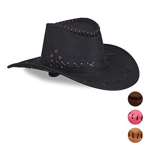Relaxdays 10024992_46 Cowboyhut Fasching, Westernhut, für Erwachsene, im Westernstyle, Karneval, mit Kopfband, Faschingshut, schwarz, Unisex