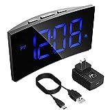 PICTEK Digital Alarm Clock, Bedside Clock with 5' Curved Screen, 6 Brightness Dimmer, Big Digital Display, Snooze, 12/24 Hour, Mains Powered, Alarm Clock for Bedroom Office
